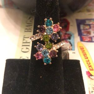 Gold ring with multi colored stones